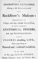 'A Descriptive Catalogue of Rackstrow's Museum', 1782. Wellcome Library, London