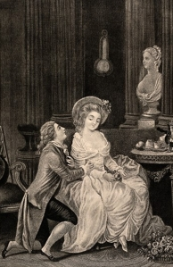 An eighteenth-century mezzotint showing a pair of lovers. Copyright Wellcome Library, London